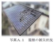 住宅屋根の被災状況